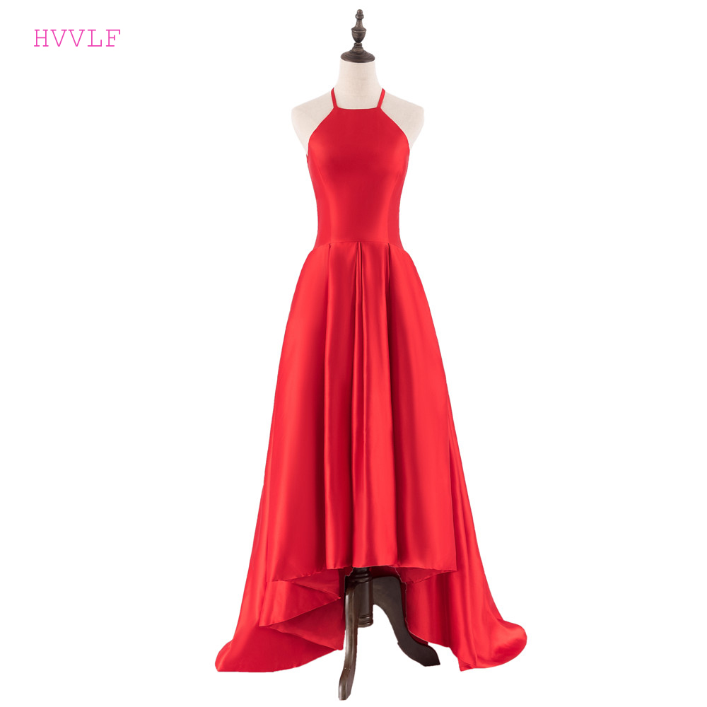 Red 2019 Prom Dresses A-line Halter Short Front Long Back Satin Long Elegant Prom Gown Evening Dresses Robe De Soiree