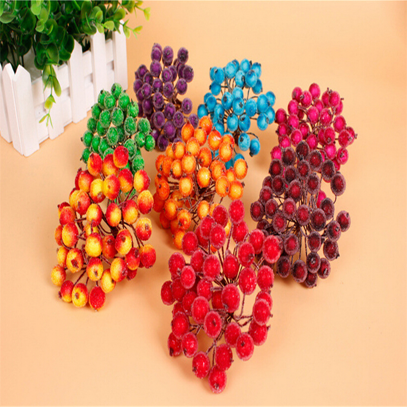 Hot Sale 100pcs/lot Mini Plastic Frozen artificial Berry Bouquet flower for home Garden wedding Car decoration crafts supplies