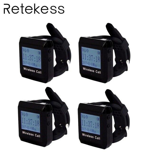 4 шт. 433 МГц Ресторан беспроводной вызова системы часы пейджер-приемник вызова официанта пейджер ресторан оборудования F3258