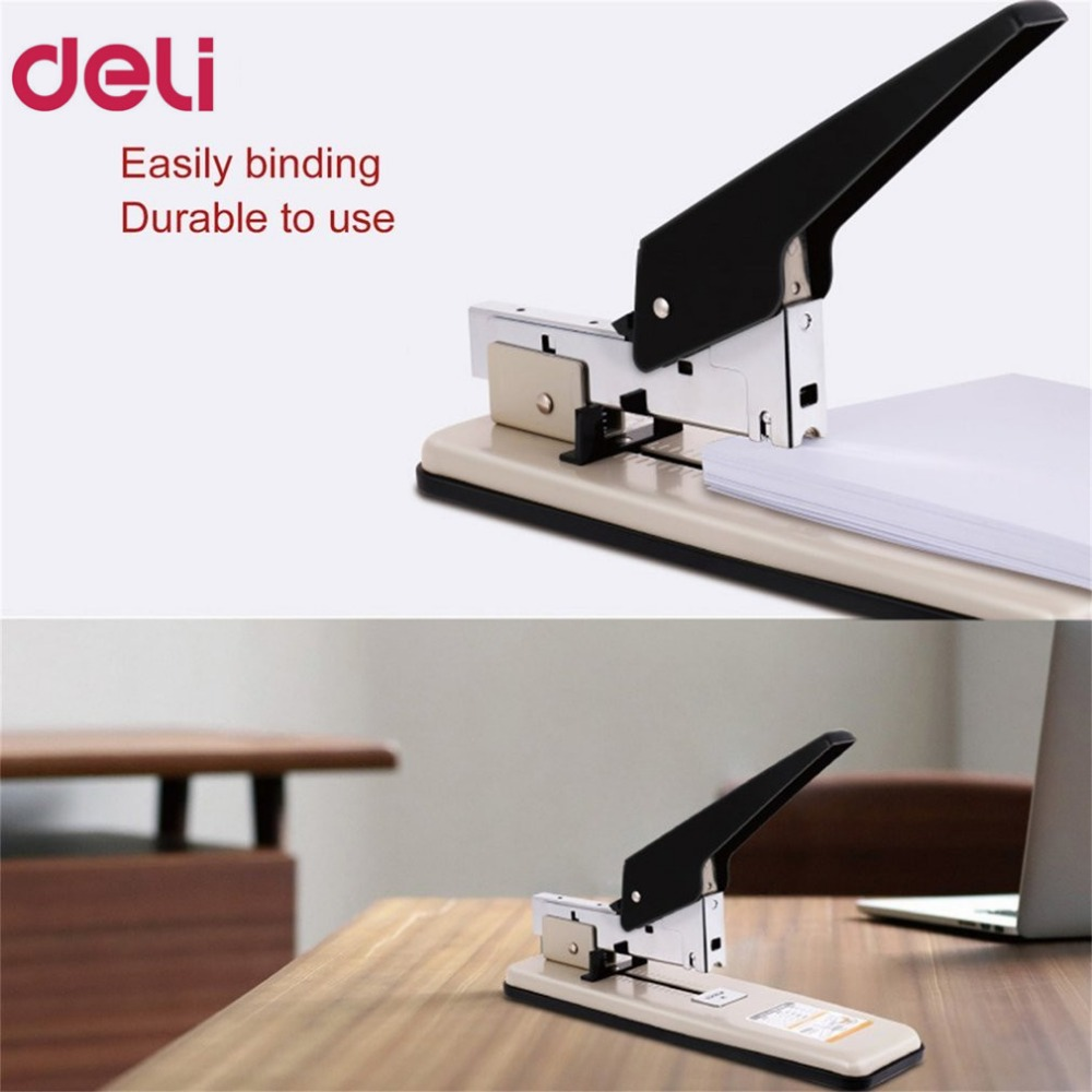 Deli 0394 Heavy Duty Stapler 100 Paper Sheets Thick Large Arm Repair Book Make Book Staplers Office Binding Machine DropShipping 2017 new valuable deli 0385 office stationary heavy duty thick stapler 65% power save staples hot sale with color black