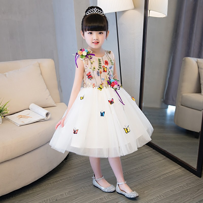 Flower Girl Dresses Ball Gown Embroidery Appliques Girls Pageant Dress for Wedding Birthday Party Sleeveless Girl