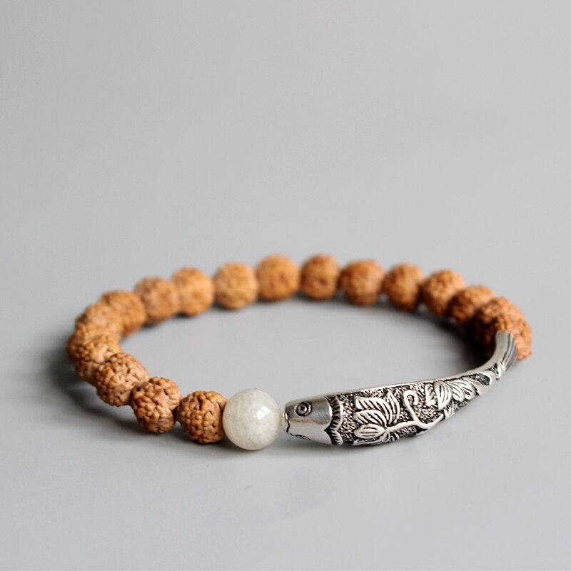 Nueva tendencia Rudraksha semilla Cuentas chino tradicional 925 Plata Lotus & pescado encanto pulsera para las mujeres étnicas elegante Yoga om joyería