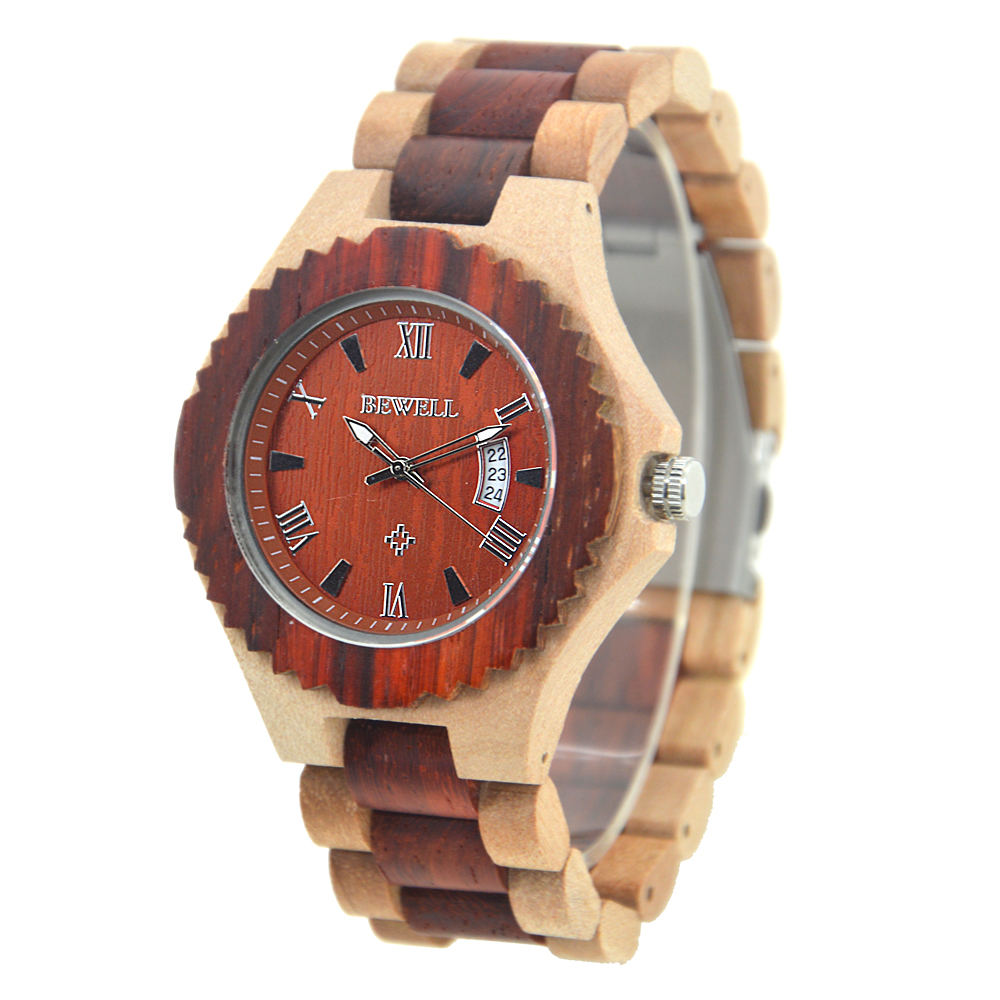 BEWELL Men Watches 2017 Luxury Brand Automatic Quartz Wooden Watch Big Face Luminous Hands with Date Display as Gift 129A 80cm chain rome retro double display hollow pocket watch fob watches men necklace quartz watch men s watches grandpa letter gift