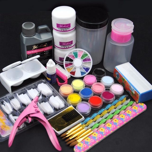 New Acrylic Nail Set Liquid Powder Art Tools Diy Kit Pen Dappen Dish False