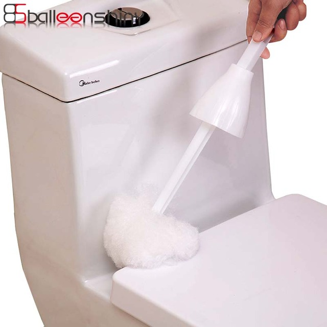 BalleenShiny Squeeze Water Type Toilet Cleaning Brush Adjustable Soft Hair Bathroom Cleaner Brush Long Handle Cleaning Appliance