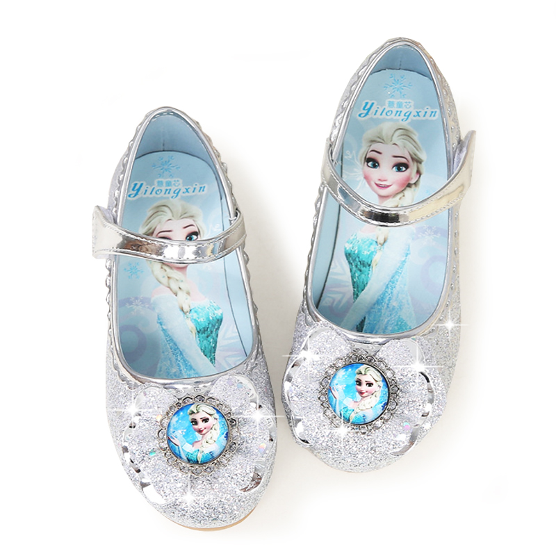Toddler Girls Leather Shoes Kids Frozen Else Dancing And Party Shoes For Girls Spring Outwear Flat Shoes 4~15 Years Old Girl