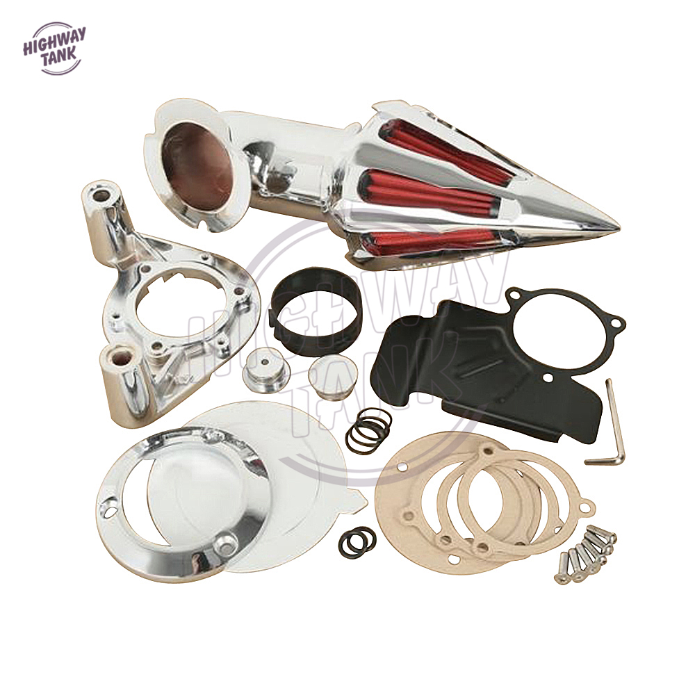 Chrome Aluminum Motorcycle Spike Air Filter Kit Intake case for Harley Electra Road Glide 2008 2012