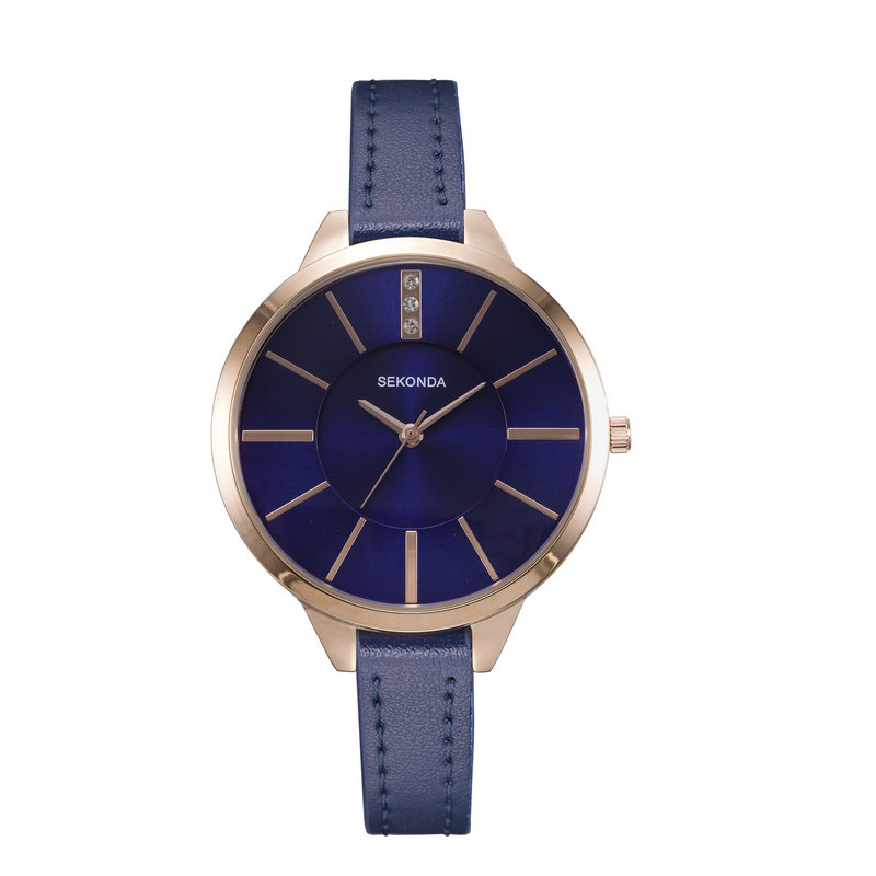 Sekonda Women Watches Large Face With Rhinestone Blue Thin PU Leather Band Casual Dress Ladies Woman Quartz Wrist Watch