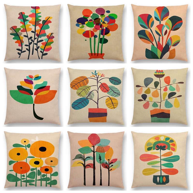 Colorful Cartoon Flowers Cute Floral Garden Bonsai Tropical Plants Beautiful Leaves Cushion Cover Sofa Throw Pillow Case Y264