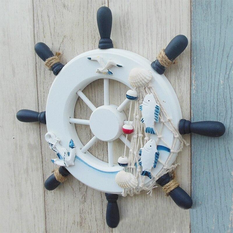 23 cm Spiaggia Barca Nave Timone In Legno Rete Da Pesca Handmade Timone Muro Decorazioni Wheel Mestiere Legno Home Decor Stile Mediterraneo F2