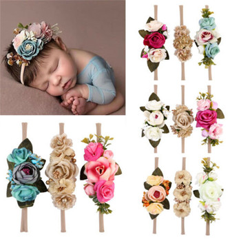 3 unids/set niñas bebé Artificial flor diadema de princesa de la moda infantil recién nacido diadema fotografía herramienta regalo cabello accesorios para el cabello