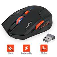 Wireless Mouse Rechargeable Slient Buttons Computer Mouse 2400DPI Gaming Mice Built In Lithium Battery 2 4G