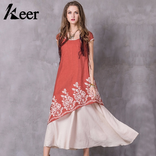Keer Qiaowa Floral Embroidered Short Sleeve Maxi Dress Women Fake