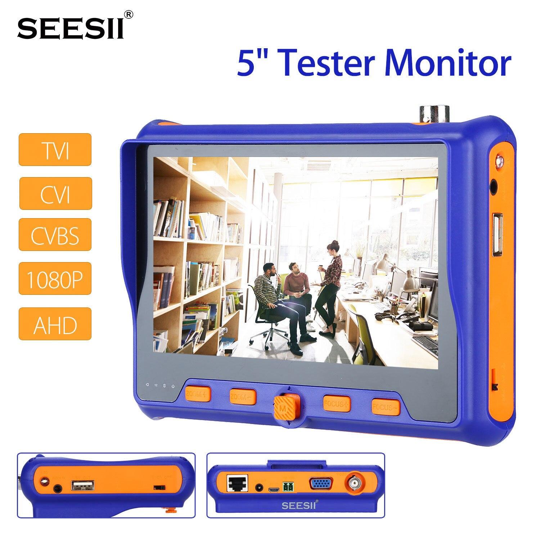 SEESII 5 дюймов 3,7 P 1080 В в камера тесты er мониторы TVI CVI AHD VGA CVI HDMI аудио Управление PTZ ЖК дисплей экран W/BNC кабель
