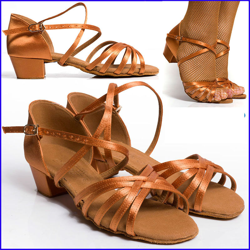 Ballroom Dancing Shoes Fitness Breathable Children S Latin Dance Sneakers Brown High Quality For Student Spring