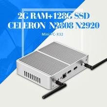 Ноутбук Celeron N2920 N2808 DDR3 2 Г RAM 128 Г SSD 2 * HDMI 1 * LAN 6USB Случае Планшетный Компьютер Mini PC Fanless PC Windows 7/8. 1