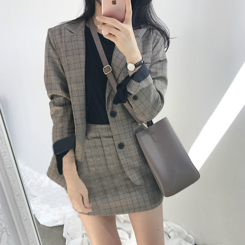 Womens Suit 2018 new high-quality vintage British foreign style plaid jacket A word skirt skirt suit two-piece set suit
