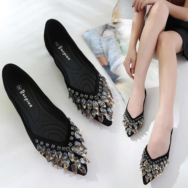 pointed toe crystal beading ballet flats women metal leaves decoration flat  shoes V open mules slip aa2958b22512