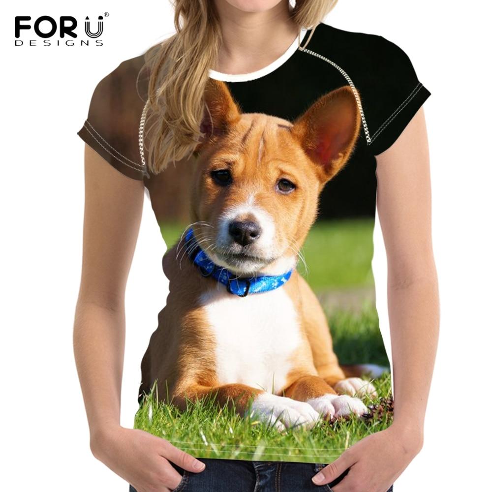 FORUDESIGNS Kawaii 3D Animale B Basenji Dog/Puppy Stampa T Shirt Donna 2018 Nuovo Arrivo T-Shirt Traspirante Breve O Collo Supera i t