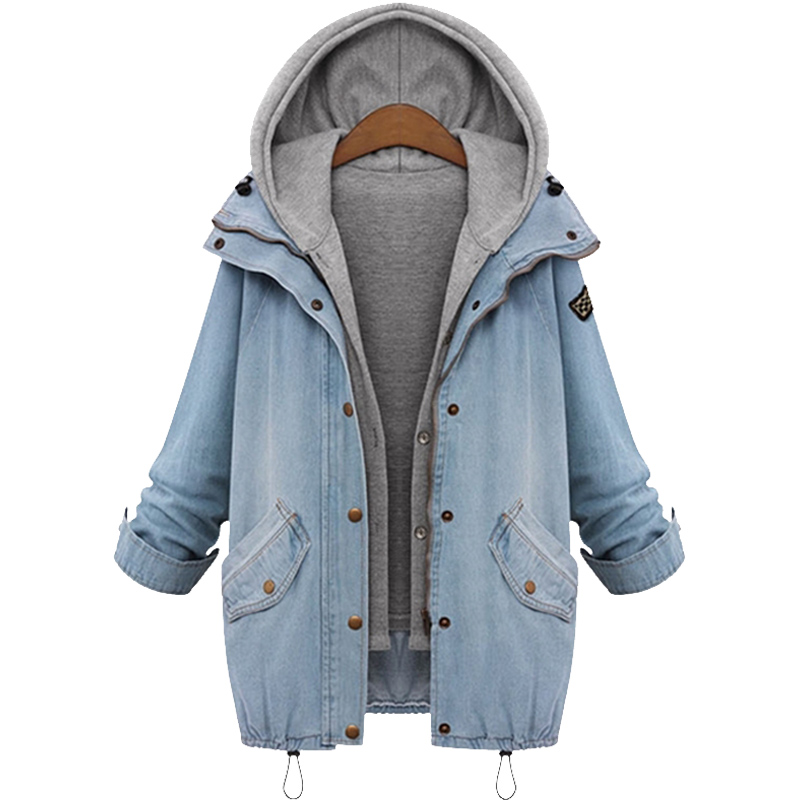 ACEMIRIZ Blue Hooded Drawstring Boyfriend Trends Jean Swish