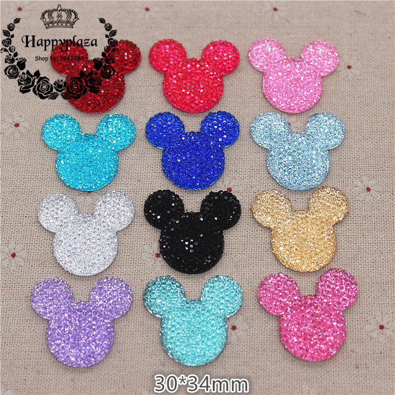 10pcs Kawaii Resin Shiny Rhinestone Mouse Flatback Cabochon DIY Craft Decoration,30*34mm