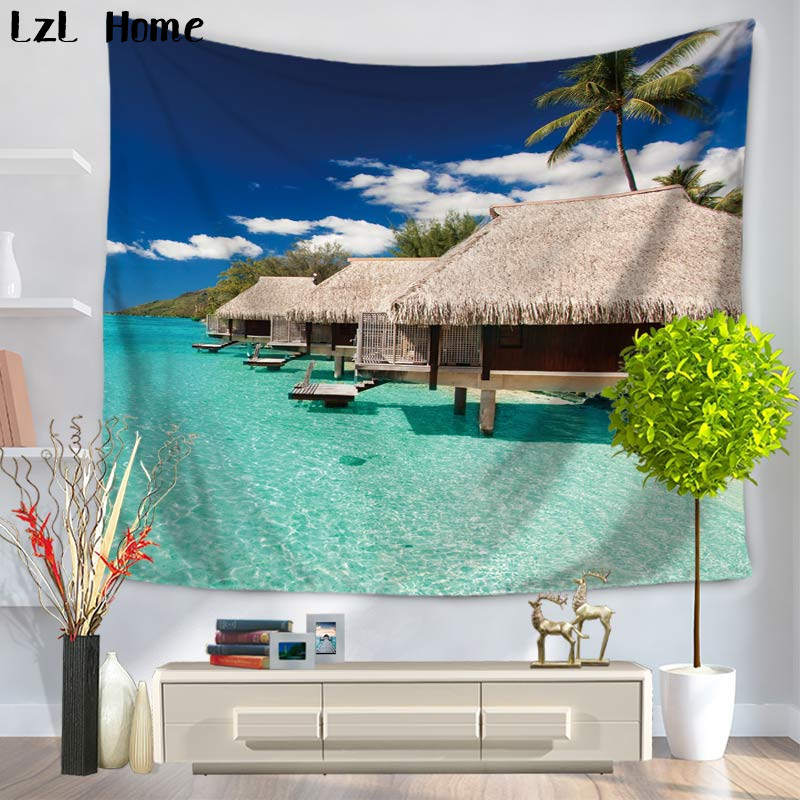 LzL Home Tropical Island Palm Tree Blue Ocean Tapestry Seaside Summer Beach Scenery Wall Hanging Home Decor Gift Yoga Mat Tapete