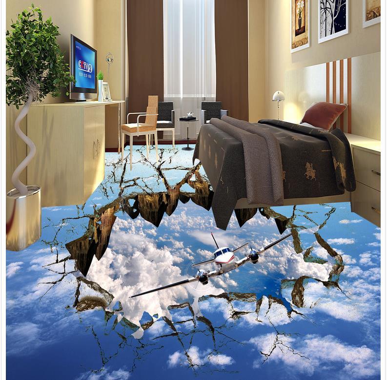 Floor wallpaper 3d for bathrooms sky 3D wall murals wallpaper floor Custom Photo self-adhesive 3D floor Home Decoration