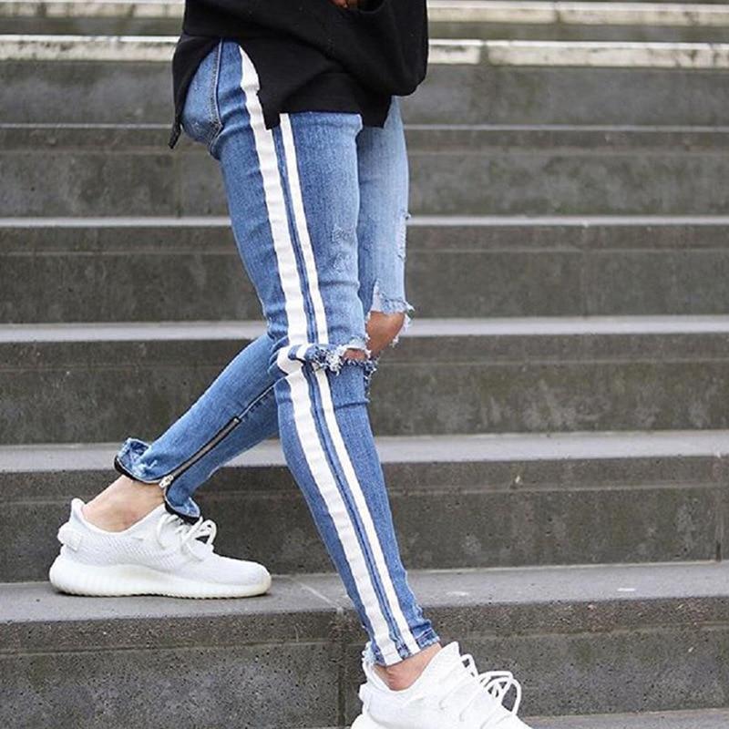 Fashion Skinny Jeans High Waist Hole Street Blue Denim Jeans Men Side Stripe Pants Stripe Ripped Elastic Slim Pencil Jeans