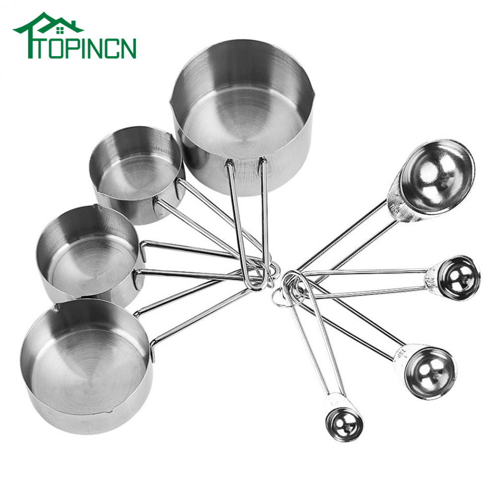 US $9.23 47% OFF|8Pcs/Set Stainless Steel Measuring Cups & Spoons Kit  Kitchen Measuring Tools Sets For Sugar Coffee Milk Cup Scoops BakingTool-in  ...