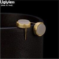 Uglyless 100% Real 925 Sterling Silver Natural Jade Round Studs for Women Geometric MINI Stud Earrings Gemstones Fine Jewelry