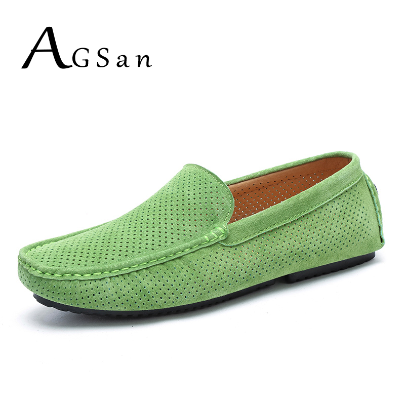 AGSan Summer Men Loafers Genuine Leather Casual Shoes Fashion Slip On Driving Shoes Breathable Moccasins Green Suede Loafers dekabr new 2018 men cow suede loafers spring autumn genuine leather driving moccasins slip on men casual shoes big size 38 46