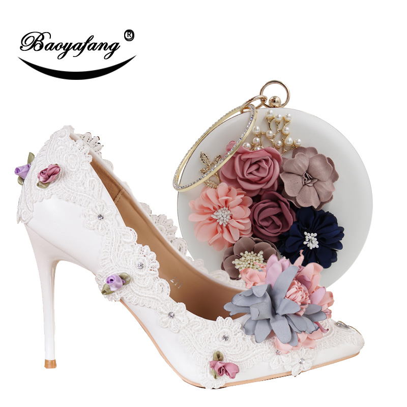 BaoYaFang New Pointed Toe Women Wedding shoes with matching bags Bride High shoes Thin heel Ladies Pumps and purse set baoyafang new arrival ladies shoes fashion pointed toe high heels pumps women office shoes 7cm heel sexy girls wedding shoes
