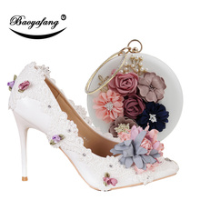 BaoYaFang New Pointed Toe Women Wedding shoes with matching bags Bride High shoes Thin heel Ladies Pumps and purse set new fashion italian shoes with matching bags for party african shoes and bag set good quality shoes for lady emf7213 5