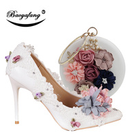 BaoYaFang New Pointed Toe Women Wedding shoes with matching bags Bride High shoes Thin heel Ladies Pumps and purse set