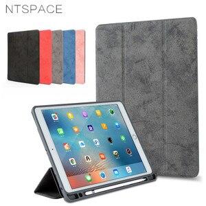 Funda magnética de silicona a prueba de golpes para Apple iPad Pro 12,9 2017 2015 funda inteligente con ranura para lápiz soporte de cuero