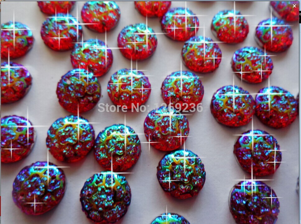 Free shipping Round 12mm 150pcs Red AB colour sew on Resin crystal Rhinestones gemstones Accessores loose Beads