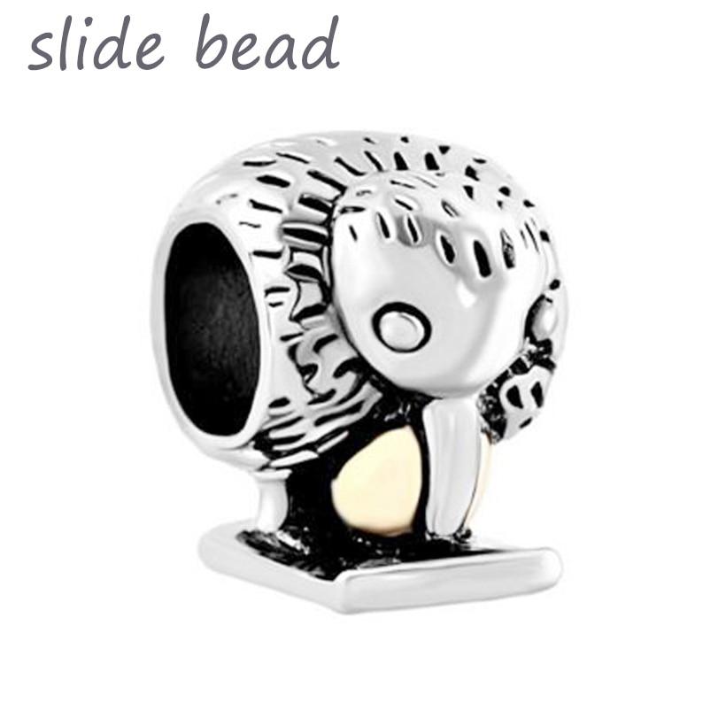 b57f21e2b Fit Pandora charm bracelets Golden Egg Kiwi Bird Animal Beads Charms  Bracelets Beads for jewelry making