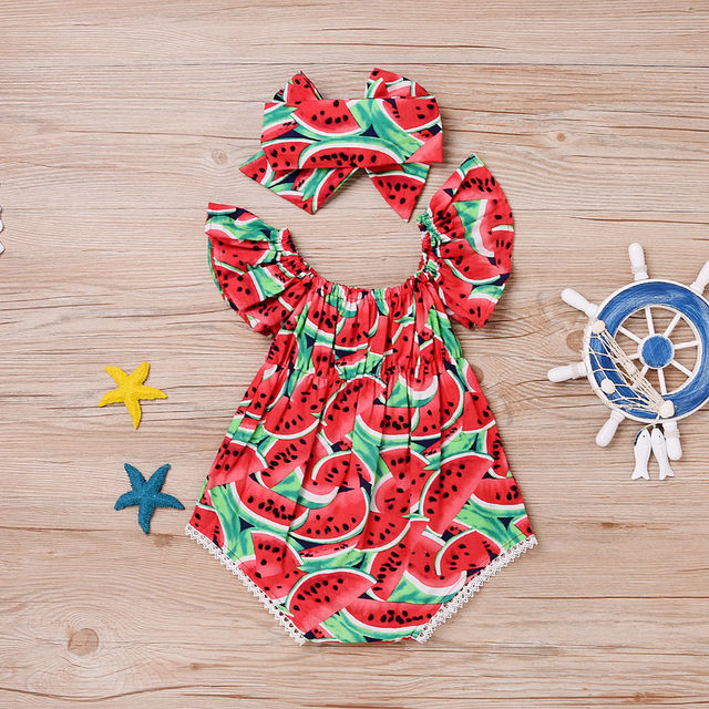 f2342d9eb Watermelon Printed Newborn Baby Girls Clothes Body suit Romper Jumpsuit  Children Kids Girl Outfits Playsuit with headband
