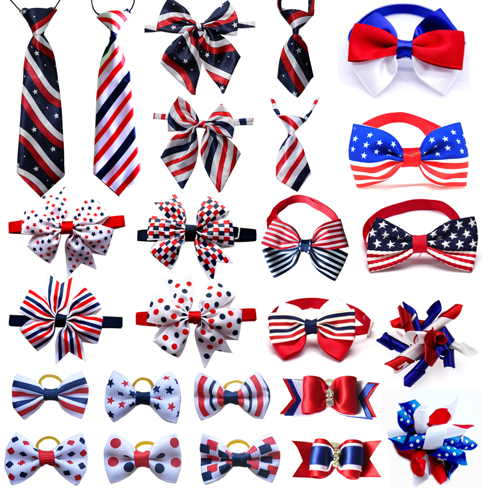 50pcs 4th Of July Pet Aessories Pet Dog Hair Bows Large Dog Bowties Neckties Pet  Collar Accessories  Dog Grooming Products