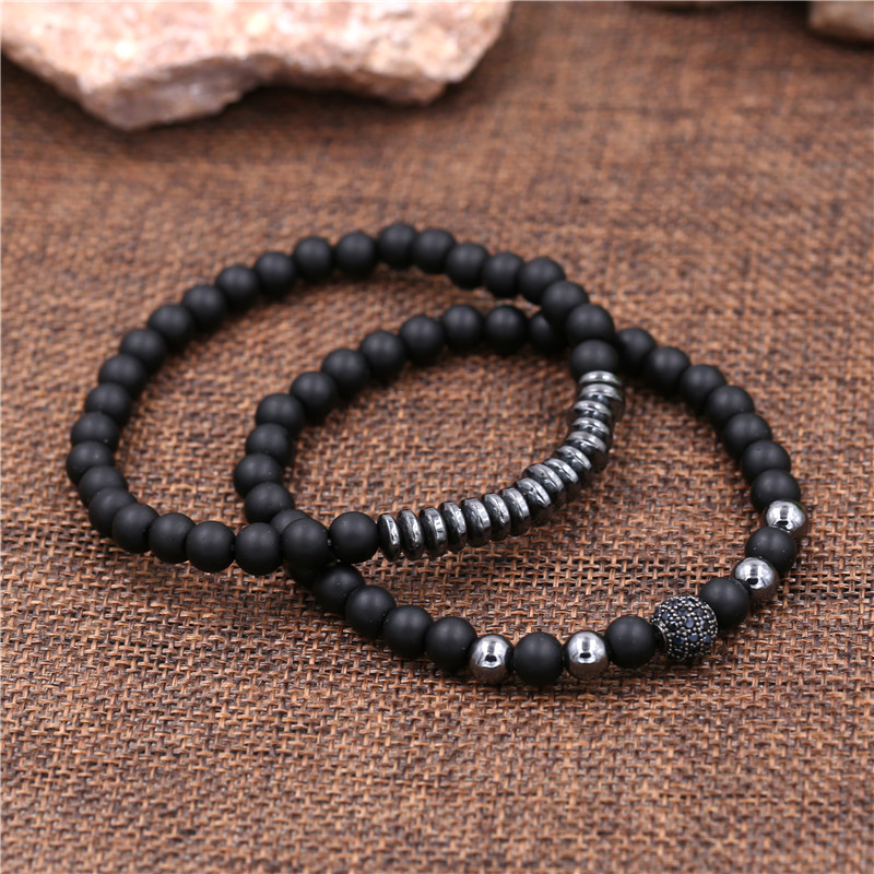 New 3Pc/Sets Micro Pave CZ 8mm Disco Ball & Bar Charms Bracelets Sets 6mm Matte Beads Stone Bracelet Men Women Jewelry bileklik
