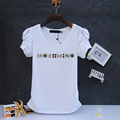 Cartas de moda T-shirt rhinestone Mujeres de la camiseta de Algodón 95% O cuello de manga corta chicas sexy elegante camiseta de Verano femme