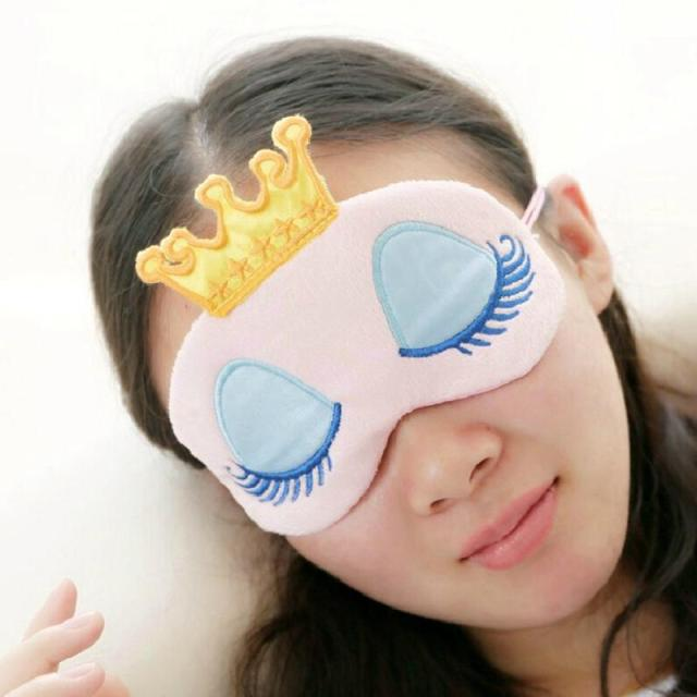 1pc Crown Eye Blinder Winker Sleep Mask Padded Eyeshade Rest Relax for sleep eye cover Travel Cartoon Long Eyelashes 2