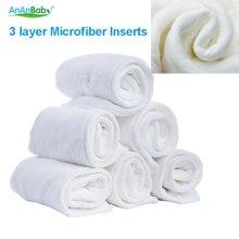 Ananbaby вкладыш в подгузник 30 шт. дышащие 3 слоя микрофибры Моющиеся вставки Reuasable Детские пеленальные колодки