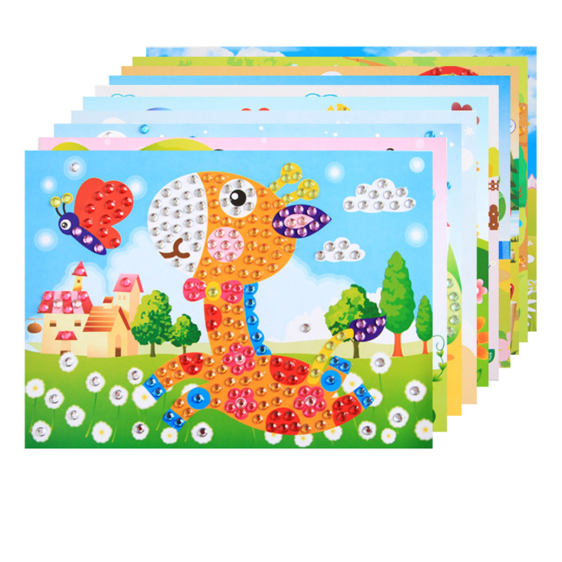 5pcs DIY Diamond Stickers Handmade Crystal Paste Painting Mosaic Puzzle Toys Random Color!!! Kids Child Stickers Toy Gift