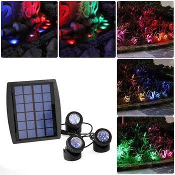 18 LEDs Solar Powered 3 Lamps Landscape Spotlight Projection Light for Garden Pool Pond Outdoor Lighting Underwater Lights