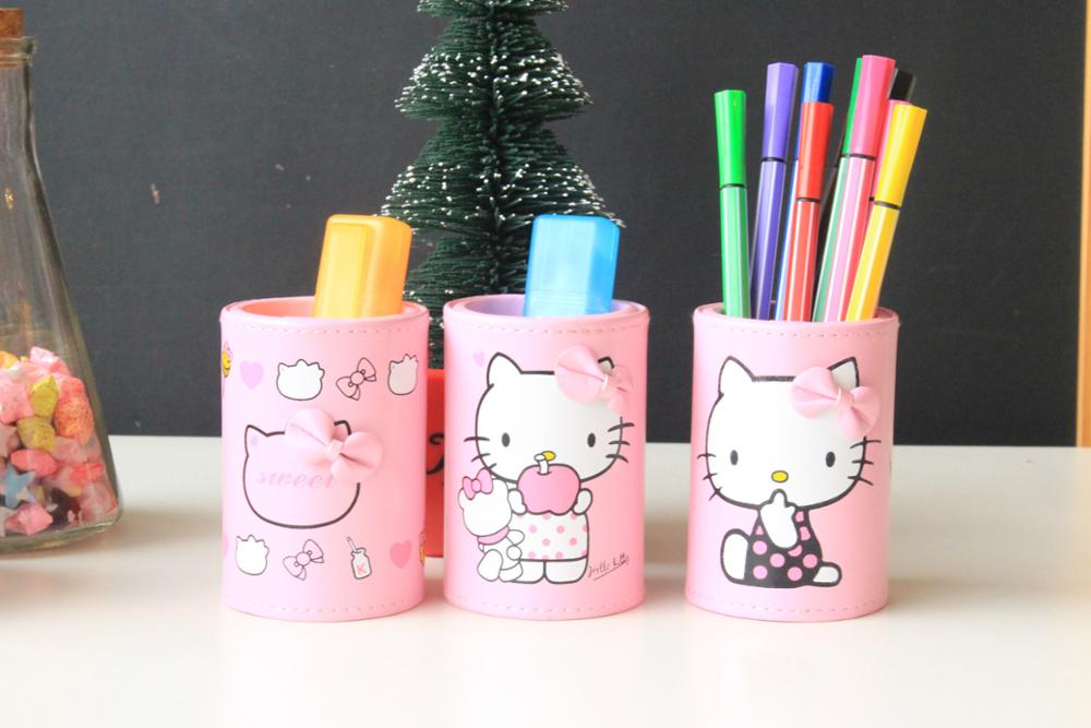1piece 2017 Hello Kitty Leather Pen Holders Grid Pen Container Stationery Desk Accessories Organizer School Supplies 01203