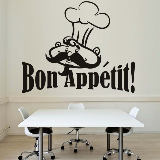 Funny Chef Wall Stickers Removable Wall Decals Kitchen Tile Glass  Waterproof Vinyl Wall Sticker Restaurant House Decoration