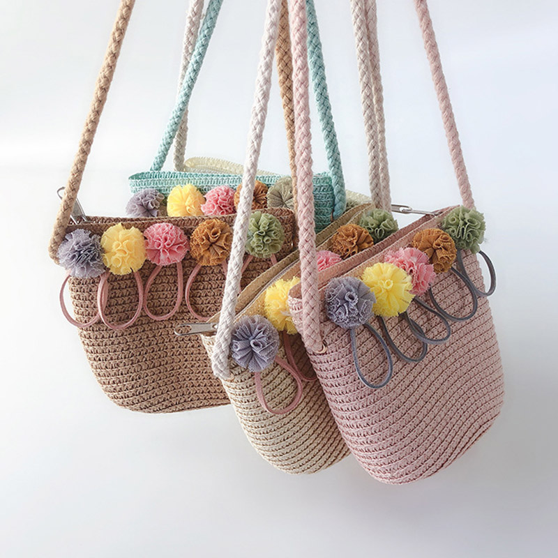ACVIP Girls Plastic Straw Woven Sun Hat /& Handbag Set 8 Colors