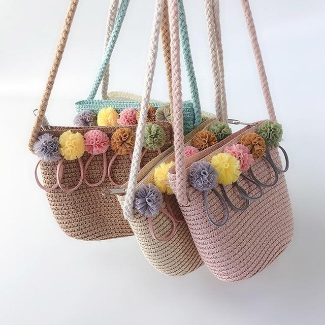 Sacchetto di Spalla delle ragazze di Paglia Rattan Tessuto Crossbody Bag per il Bambino Delle Ragazze Best Vendita-WT