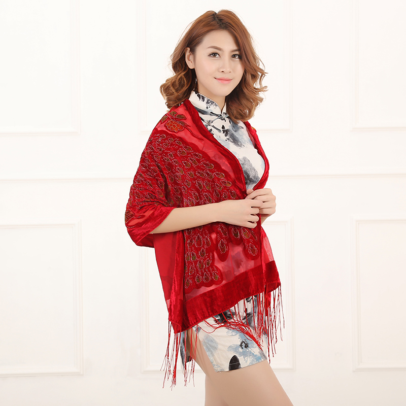 Image 3 - 12 Colors UK Peacock Velvet Shawl Women Scarf Fashion Winter Pashmina Poncho US Gift For Lady free shipping-in Women's Scarves from Apparel Accessories on AliExpress